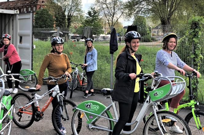 Women refugees and asylum-seekers learning to ride a bicycle in Heyritz Park in Strasbourg