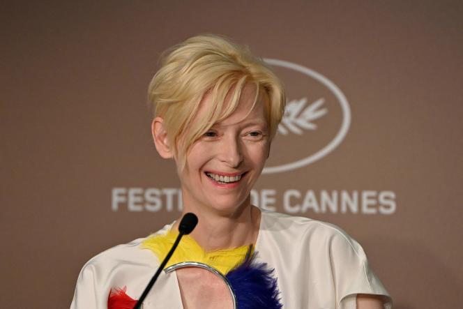 British actress Tilda Swinton smiles during a press conference for the film